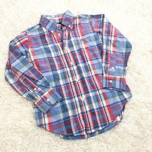 RALPH LAUREN SZ 5 Toddler Boys Plaid Long Sleeve B